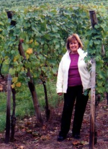 Arlene explores the vineyard outside her cottage in Katzenthal village, France. September 2008.